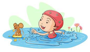 Nadando com um rato vetor