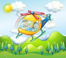 Um helicóptero com crianças vetor