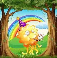 Um monstro feliz na floresta vetor
