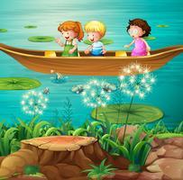 Crianças, barco remando, em, lagoa vetor