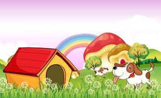 Uma casa de cachorro perto das ervas daninhas vetor