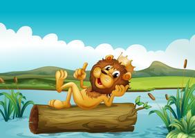 Um baú com um leão rei vetor