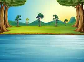 Uma floresta com um rio vetor