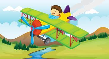 Um menino e um avião voando vetor