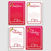 Feliz dia dos namorados conjunto de 4 design de cartão