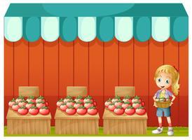 Um, menina, vender, tomates vetor