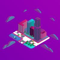 Projeto 3D de edifícios modernos isométrico