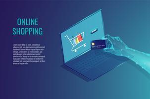 Compras on-line no conceito abstrato de computador. vetor