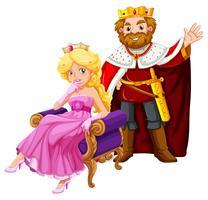 Rei e rainha usando coroas vetor