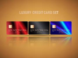Vetor de conjunto de cartões de crédito realista
