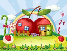 Um monstro indo para a casa da maçã vetor
