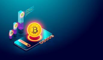 Bitcoin criptomoeda e conceito Blockchain.