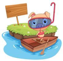 porco e barco vetor