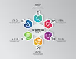 Modelo de infográficos de apresentação de negócios com 6 opções