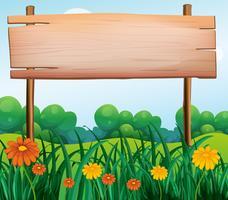 Uma tabuleta de madeira no jardim vetor