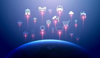 Internet das coisas (iot) e conceito de casa inteligente. A rede 5g e a computação em nuvem conectam dispositivos sem fio globais entre si.
