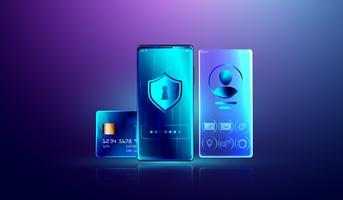 Sistema de proteção de dados e informações pessoais seguro bloquear o conceito, pagamento on-line de segurança com smartphone. vetor