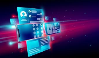 Criação de aplicativos móveis, desenvolvimento web, testes, ícone de lançamento e interface de usuário para o conceito de smartphone 3d. Vetor