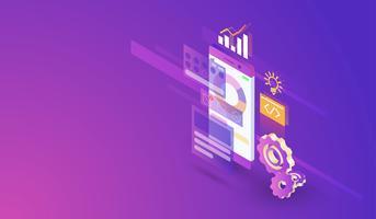 Projeto isométrico moderno do processo de desenvolvimento móvel da aplicação, app móvel e vetor da construção da relação.