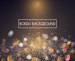 Luzes de bokeh de ouro e brilho de fundo Vector