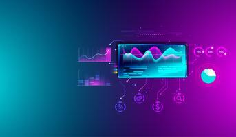 Análise de estatísticas financeiras no smartphone com gráficos, planejamento de negócios, pesquisando, estratégia de marketing e fundo de sistema de análise de dados. Vetor