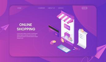 Compras on-line no conceito de loja de smartphone, fundo de comércio eletrônico on-line, tecnologia de marketing de negócios isométrica. vetor