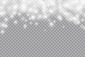 Neve ou flocos de neve de queda de queda, luz do bokeh e brilho no fundo transparente. Vetor