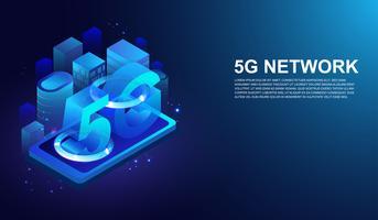 Sistemas sem fio da rede 5G isométrica no smartphone e na próxima geração de vetor do Internet.