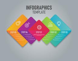 Infografia colorida de negócios com passo e 4 opções