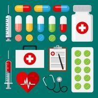 Conjunto de ícones médicos vetor