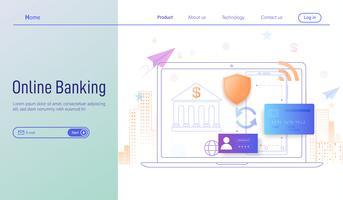 Conceito de projeto liso moderno moderno da operação bancária em linha, página da aterrissagem da operação bancária em linha através do vetor do smartphone e do portátil.