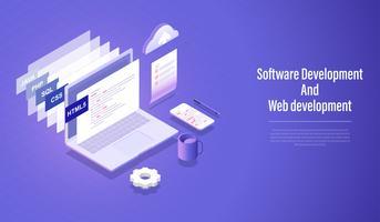 Desenvolvimento de software e conceito isométrico do desenvolvimento da Web, linguagem de programação que codifica o vetor.