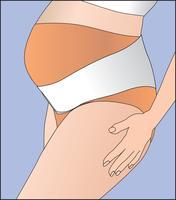 Mulheres grávidas usando bandagem. Banda de roupa interior para apoio da barriga. vetor