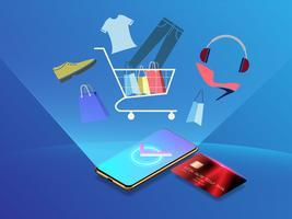 Vetor de compras on-line com o conceito de cartão de crédito, marketing móvel e design minimalista de comércio eletrônico.