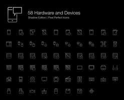 Hardware Dispositivos de computador do telefone móvel Pixel Perfect Icons (estilo de linha) Shadow Edition.