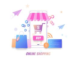 Compras on-line moderno conceito plana, comprando on-line por smartphone, vetor de mercado on-line