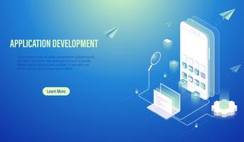 Desenvolvimento de aplicativos móveis e conceito de codificação de programas, software de construção pelo computador portátil e smartphone, UI Ux e web design layout no vetor de tela.
