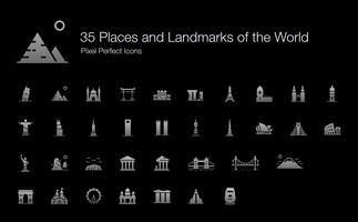 35 Lugares e Marcos do Mundo Ícones Pixel Perfeito (Edição de Sombra de Estilo preenchido). vetor
