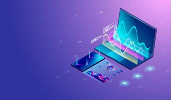Pesquisa de marketing de negócios em gráficos de tela de laptop e smartphone e diagramas, processamento gráfico, análise de estatísticas financeiras. vetor