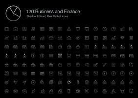 Gráfico de gráfico de finanças de negócios Ícones de pixel de escritório perfeito (estilo de linha) Shadow Edition.