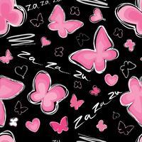 Coração, padrão sem emenda de borboleta Dia dos namorados ornamento de azulejo de férias vetor