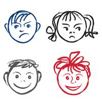 Crianças sorriam e rosto triste. Perfil de rostos com diferentes expressões definidas. vetor
