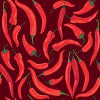 Padrão sem emenda de pimenta. Fundo de vegetal de ingrediente de comida de tempero quente vetor