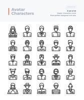 Conjunto de ícones vetoriais linha detalhada de pessoas e Avatar. Pincel perfeito e editável de 64x64 pixels. vetor