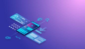 O conceito de projeto e a aplicação isométricos de Smartphone UI-UX, desenvolvimento da Web com camadas da tela mostram o gráfico e os ícones da interface de utilizador.