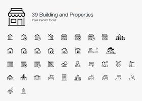 39 Construindo e Propriedades Pixel Perfect Icons Line Style. vetor