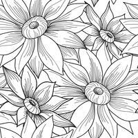 Padrão sem emenda floral. Fundo de redemoinho girassol flor. vetor