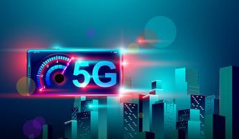 Internet de comunicação de rede de alta velocidade 5G no vôo realista 3d isométrica smartphone Cruz noite cidade inteligente.