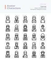 Conjunto de ícones vetoriais linha detalhada de pessoas e Avatar. Pincel perfeito e editável de 64x64 pixels.