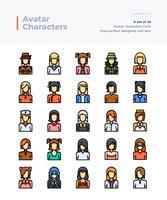 Ícones de linha de cor Vector detalhadas conjunto de pessoas e Avatar. Pincel perfeito e editável de 64x64 pixels.
